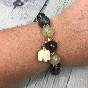 5/$25 Earthy African beaded bracelet stretchy